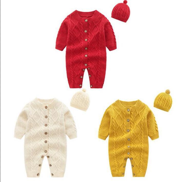 Costumi bambini bambino Twist lavoro a maglia di colore puro delle tute di cotone caldi di inverno Bottoni pagliaccetti di ascensione del bambino abbigliamento per bambini Abbigliamento WY53Q-2