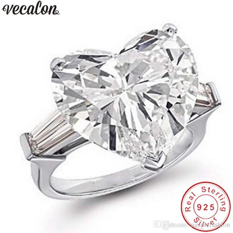 여성 신부 손가락 보석 Vecalon 마음 사랑 반지 925 스털링 실버 다이아몬드 소나 Cz에 약혼 결혼 반지 반지