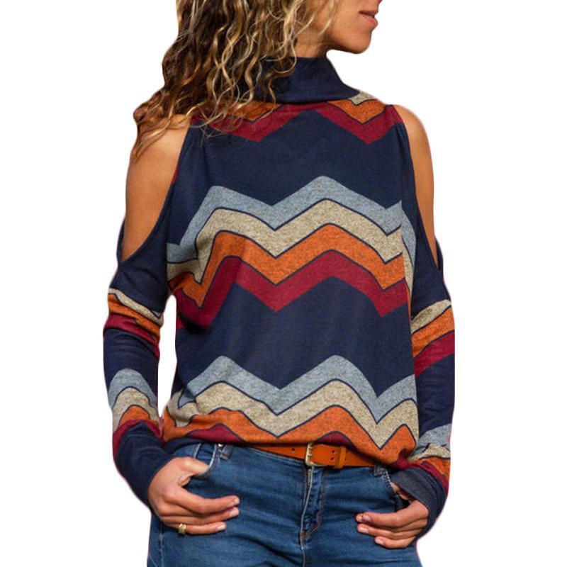 여성 블라우스 섹시한 콜드 숄더 탑 캐주얼 터틀넥 니트 탑 점퍼 풀오버 프린트 긴팔 셔츠 Blusas Camisas Mujer
