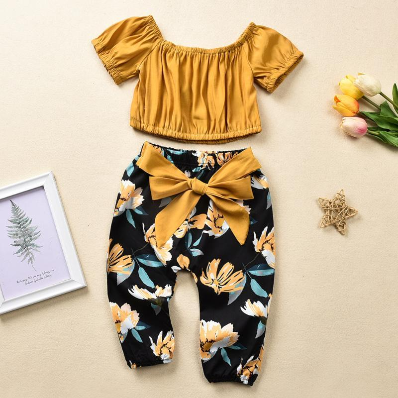 4T Toddler Baby Girls Clothes Off Shoulder Pullover Short Sleeve Tops Bow Floral Pants 2PCS Kids Outfits For Girls Clothing 2020