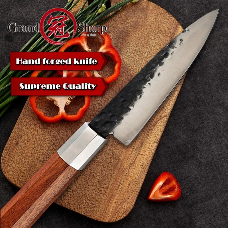Grandsharp ручного нож шеф-5,6-дюймовая высокоуглеродистой стало 4cr13 Петтями Подсобных японских кухонных ножей молоток кованых Главной Инструменты подарки