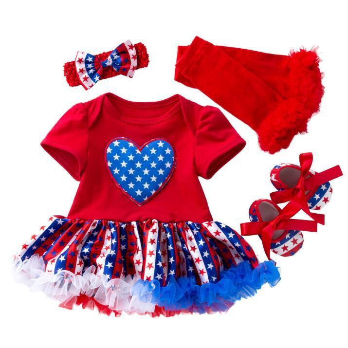 Newborn Girl Birthday Clothes Sets Bodysuit Tutu Dress+ Headwear + Sock + Shoes 4PCS Clothing Suit Kids Summer Spring Girls Outfits