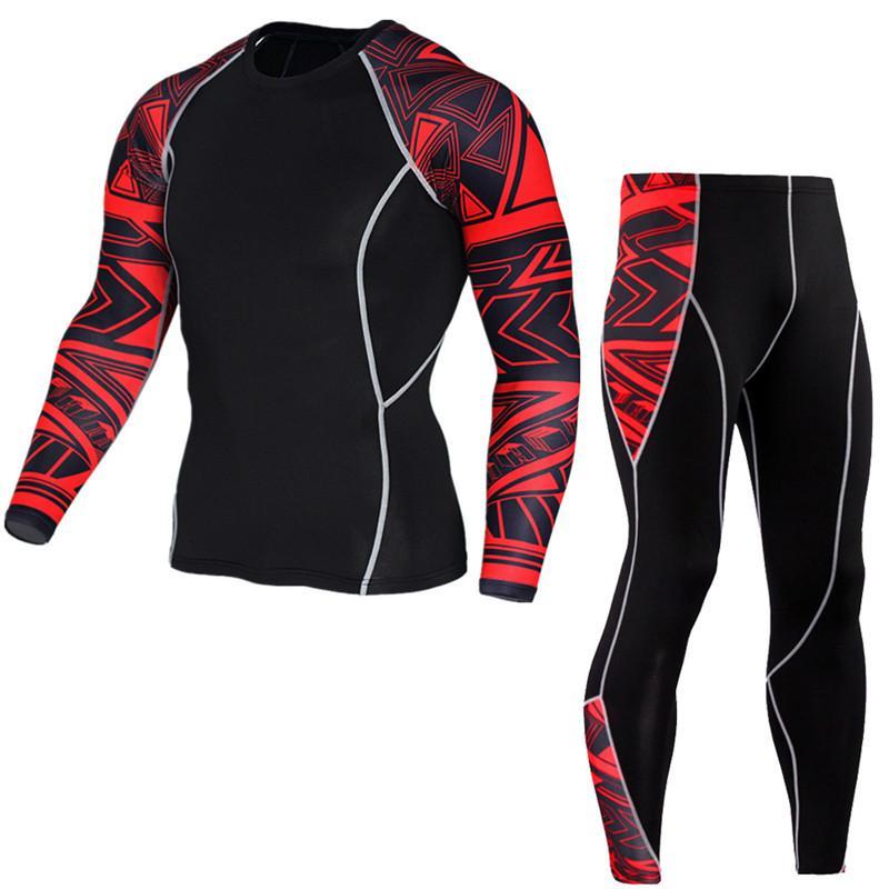 Herren Compression Run Jogginganzug Kleidung Sport Sets lange T-Shirt und Hosen Gym Fitness Training Tights Kleidung 2pcs / Sets