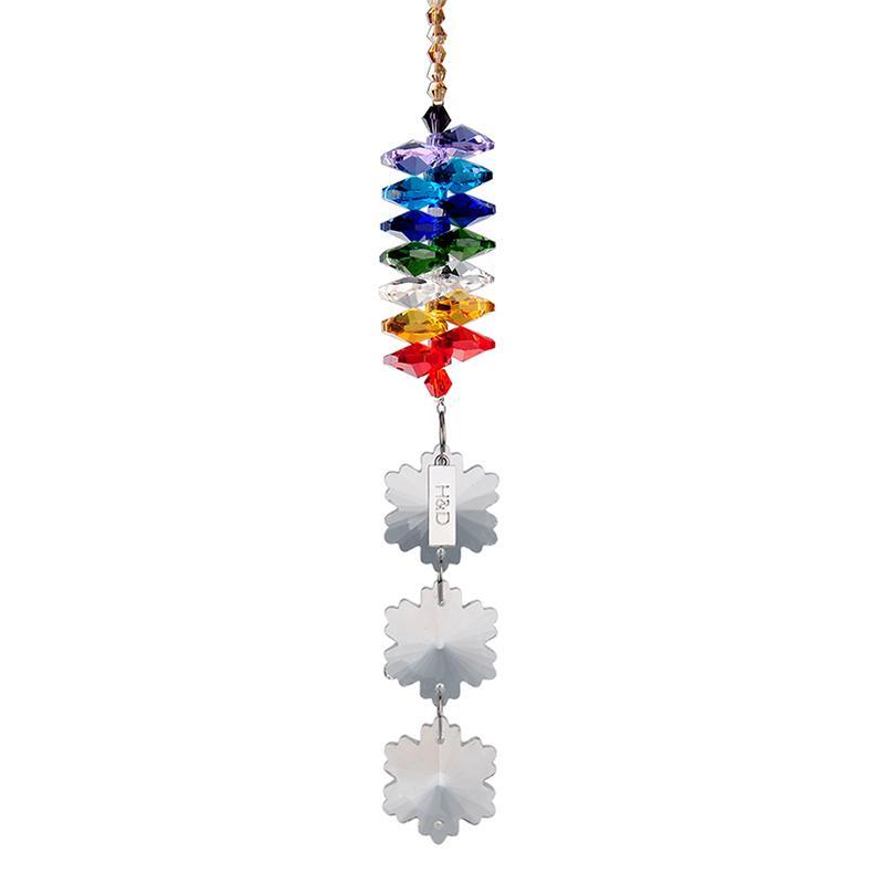 H&D 33cm Crystals Snowflake Prisms Rainbow Octogon Chakra Suncatcher Home Decor Crystal DIY Hanging Decorations