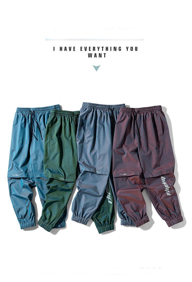 Calças dos homens de Moda 2020 Nova Tendência Verão Casual letra impressa Gradiente Slacks Estilo largas, Pé-bound nove minutos calças dos homens