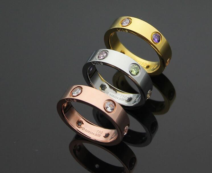 Couple de diamants colorés six diamants anneau plein diamant blanc hexagone trou bague de diamant hommes et femmes sélection de trois couleurs