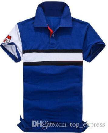 Express Men Casual Polo Shirts Cotton Mid-Striped Sports Polos Classic Leisure T-Shirt White Blue Size M-XXL