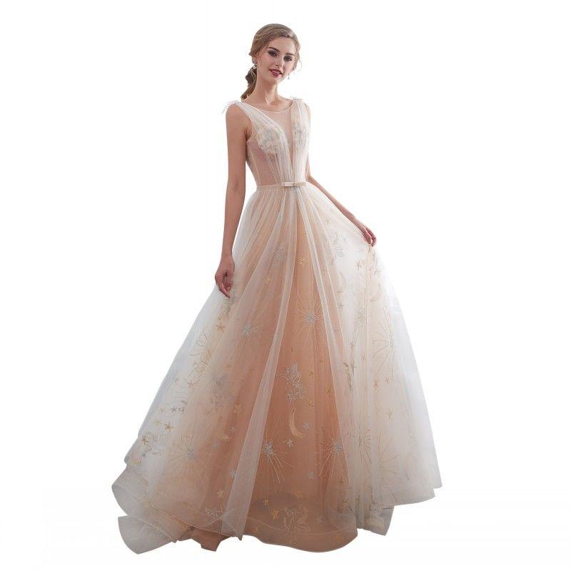 Gerçek Pastel Ay ve Yıldız A-line Fırfır Sashes Örgün Akşam elbise Jewel Kolsuz Dantel-up Backless 2019 Gelinlik Modelleri Gelin Parti kıyafeti-9