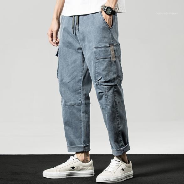 Pantalones Casual Color de luz Relajado Harem con bolsillos Calle Primavera Verano Estilo para hombre pantalones más el tamaño para hombre por carretera