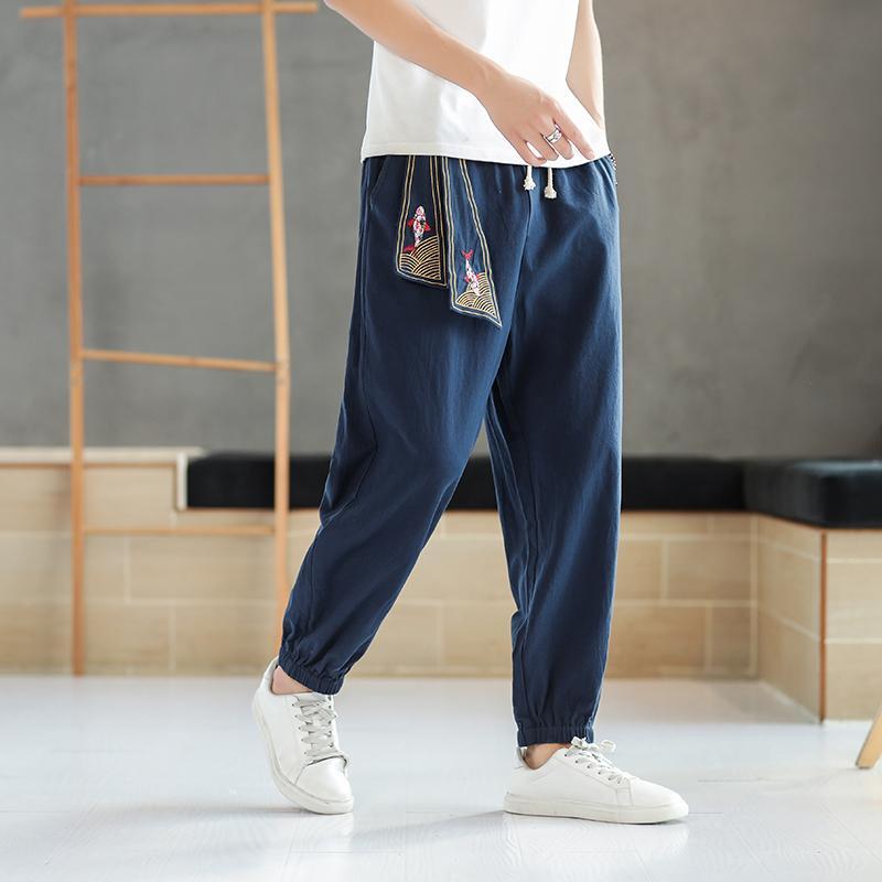 2020 Лето Мужская хлопок белье брюки Hip Hop беговые штаны Printed дышащий способа высокого качества вскользь шаровары мужчин