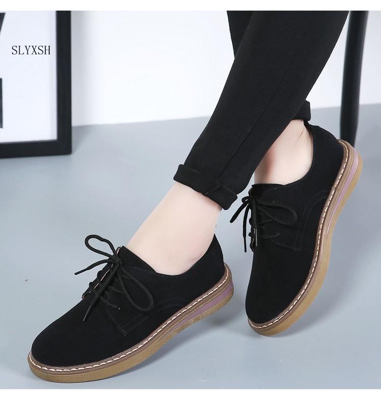 Nouveau cuir véritable femmes chaussures plates à lacets automne Sneakers Oxford Chaussures Femme Mocassins Casual femmes plates