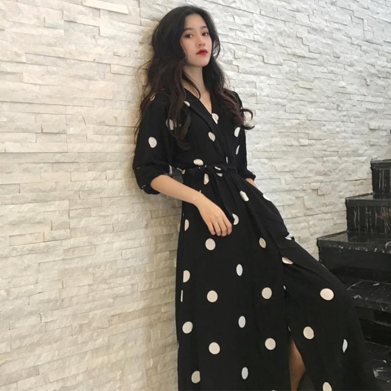 SuperAen Yaz Kadın Elbise Kore Stil Moda V yaka Bayan Uzun Elbise Günlük Yarım Kol Dot Elbise Kadın Yeni 2020 Y200623