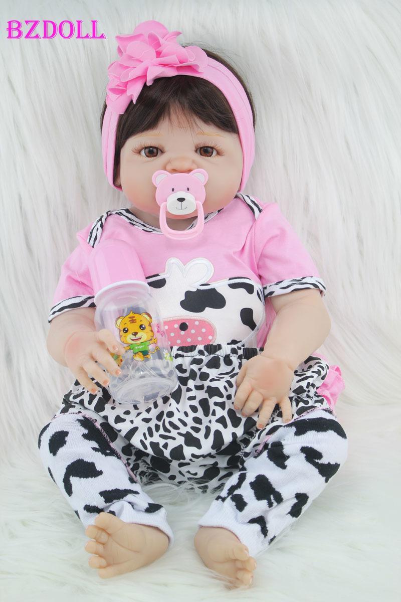 55cm Full Body Silicone Reborn Girl Baby Doll Toy Lifelike Newborn Princess Babies Doll Fashion Kids Child Brinquedos Bathe Toy Y200111