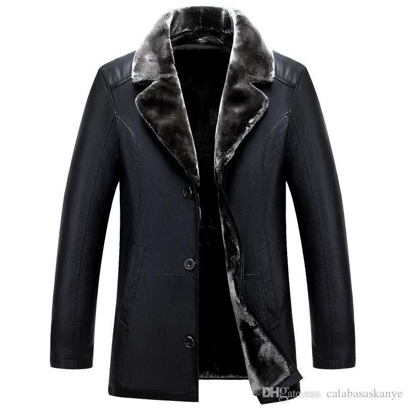 Зимние мужские куртки конструктора кожаные нагрудные шеи однобортный Самцы Зимние куртки меха Мужская стороны одной Coat