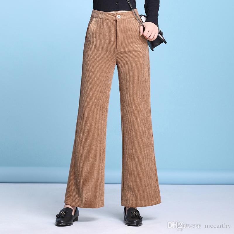 Neue Mode Frühjahr Herbst dünne Cord Flare Capris Frauen plus Größe 4 einfarbig hohe Taille schwarz braun beiläufige Hosen dyq0902