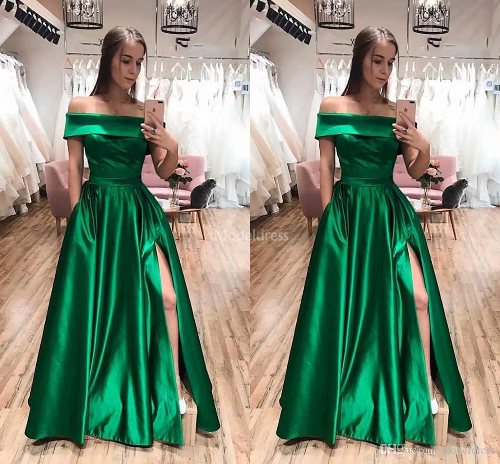 Simples elegante Cheap A linha Prom vestidos longos Alças High Side Dividir o chão Formal ogstuff Vestido Vestidos Ballkleider