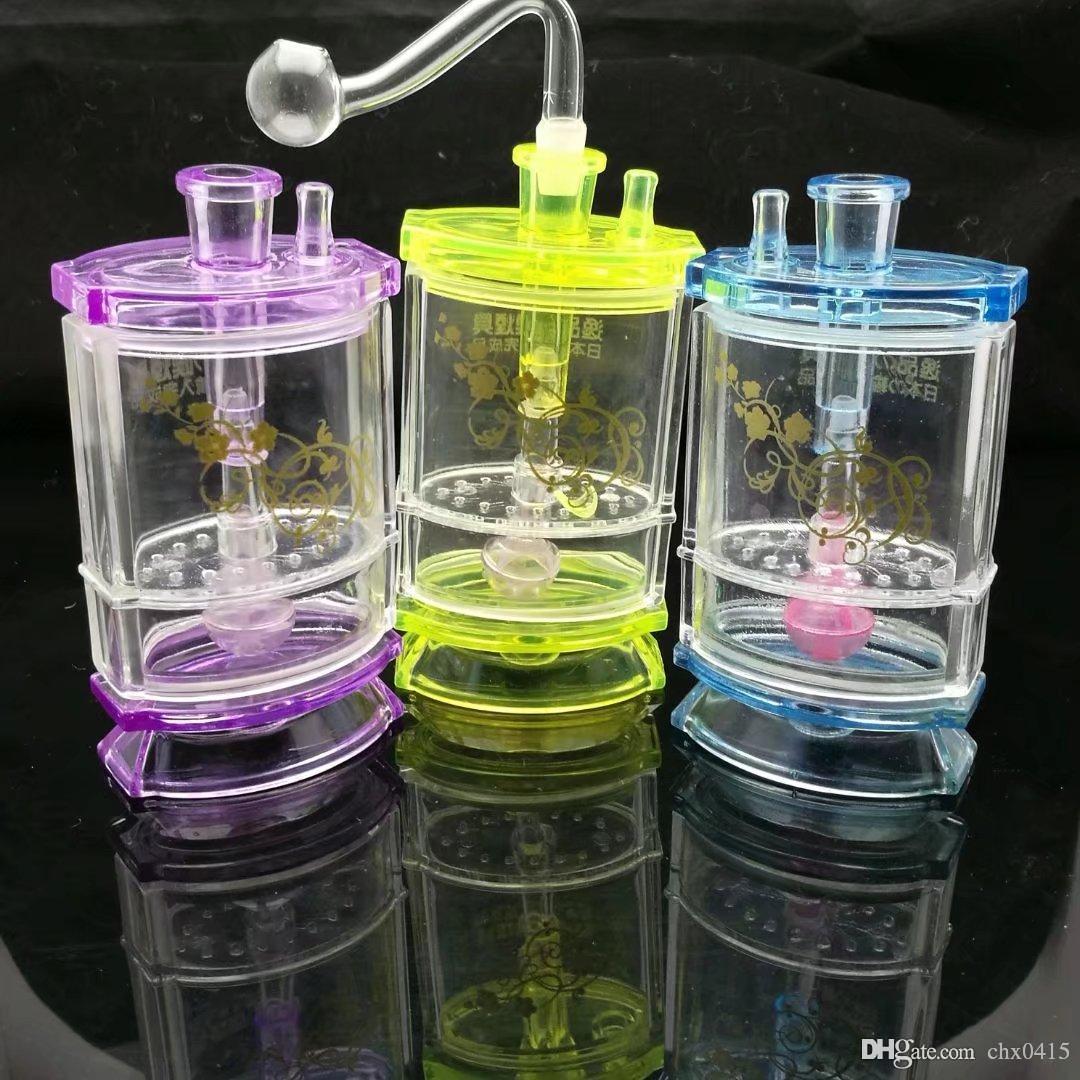 Doppio narghilè acrilico, bong di vetro all'ingrosso Tubi di acqua di olio Tubi di vetro Tubi di petrolio Fumatori, spedizione gratuita