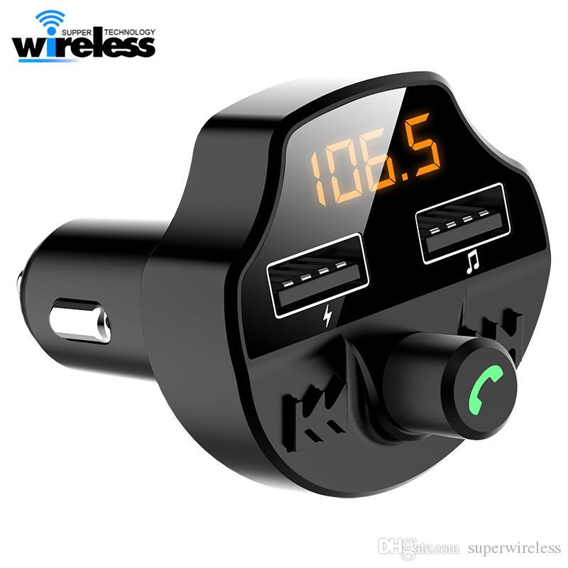 T66 سيارة بلوتوث 5.0 FM مرسل لاسلكي يدوي استقبال الصوت السيارات MP3 لاعب 2.1A المزدوجة USB سريع شاحن اكسسوارات السيارات
