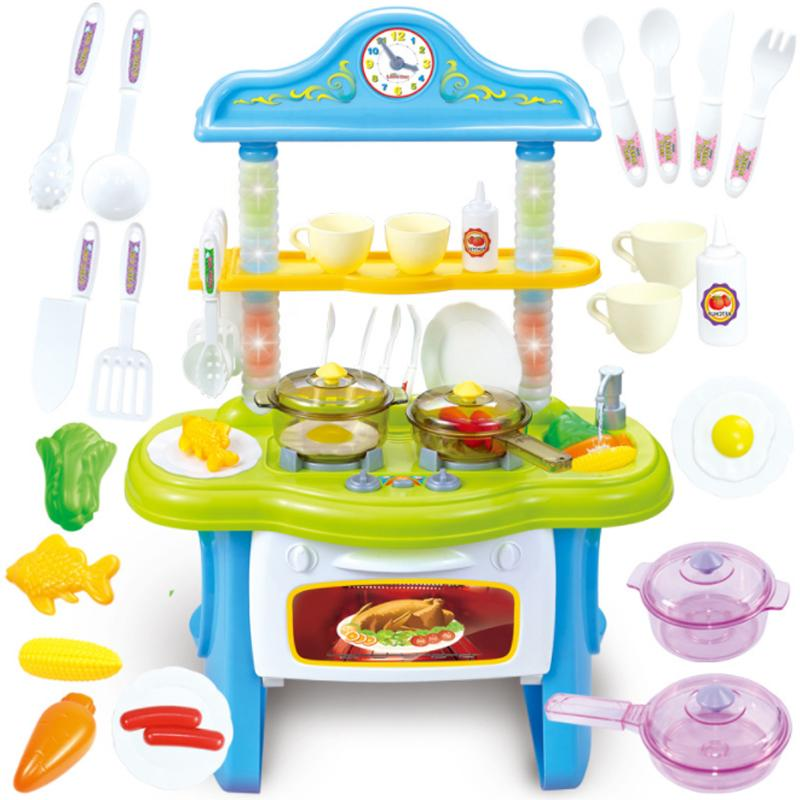 1 Set Red/Pink Colour Kitchen Toy Pretend Play Kitchen Set Cooking Simulation Cookware Kitchen Toy Food Tableware Sets Baby D101