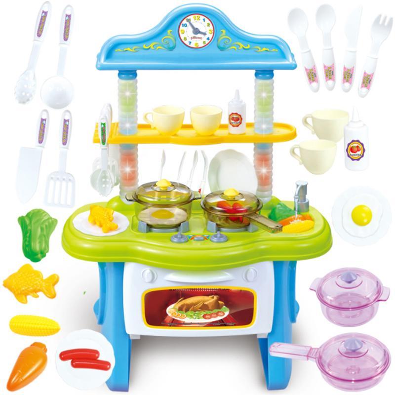 1 مجموعة الأحمر / الوردي اللون لعبة المطبخ نتظاهر اللعب المطبخ مجموعة الطبخ محاكاة طهي المطبخ لعبة الغذاء أدوات المائدة مجموعات الطفل d101