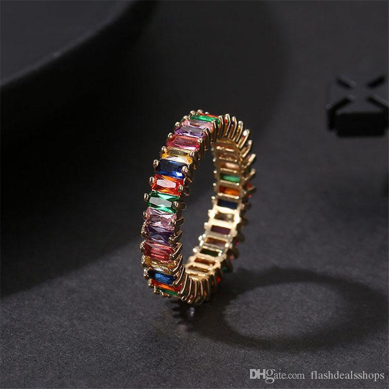 Высокое качество Радуга Кристалл Циркон кольцо обручальные кольца для женщин мода квадратный багет CZ вечность палец кольцо свадебные украшения