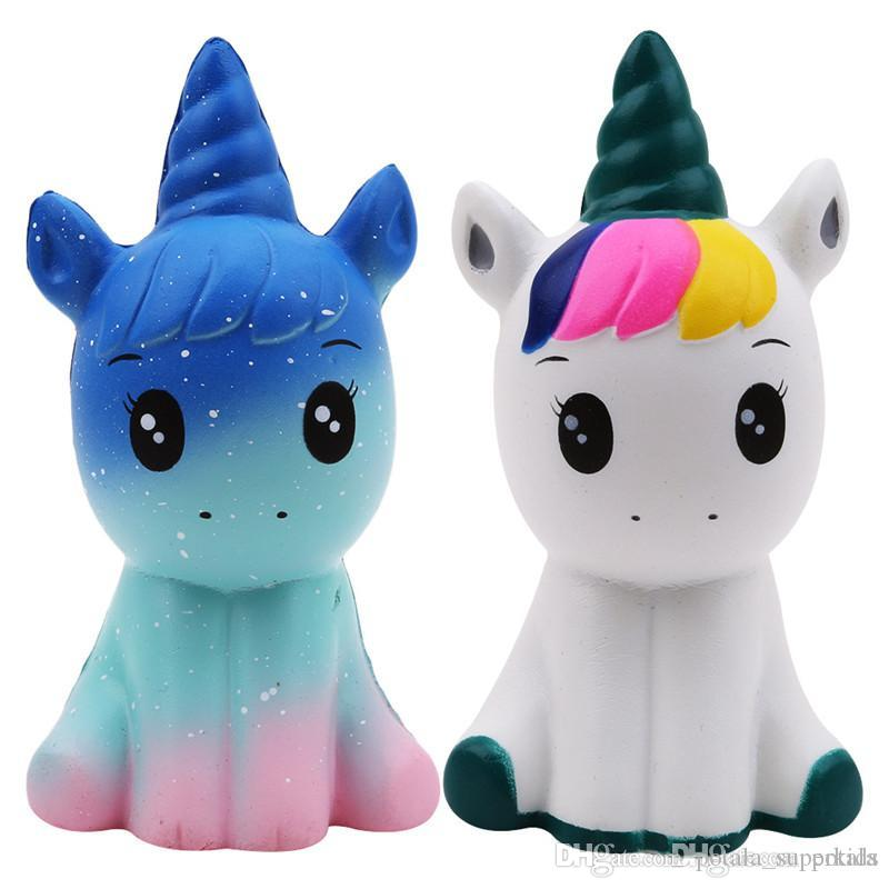 12CM Jumbo Unicorn Squishy Doll large Pony Starry Sky Slow Rising Horse Phone Strap Decompression Toys Stress Reliever Mobile Phone Straps