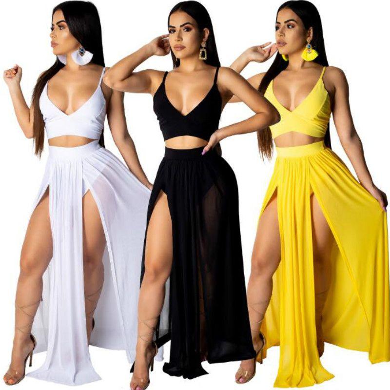 High Slit Maxi Dresses Sleeveless Split Prom Long Dress High Side Double Long Evening Party Dress Deep V Neck Beach Mesh Club Dress
