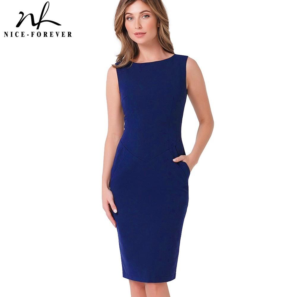 Nice-forever Vintage Pure Color Wear To Work Brief Vestidos Business Bodycon With Pocket Sheath Women Office Elegant Dress B454 Y19052901