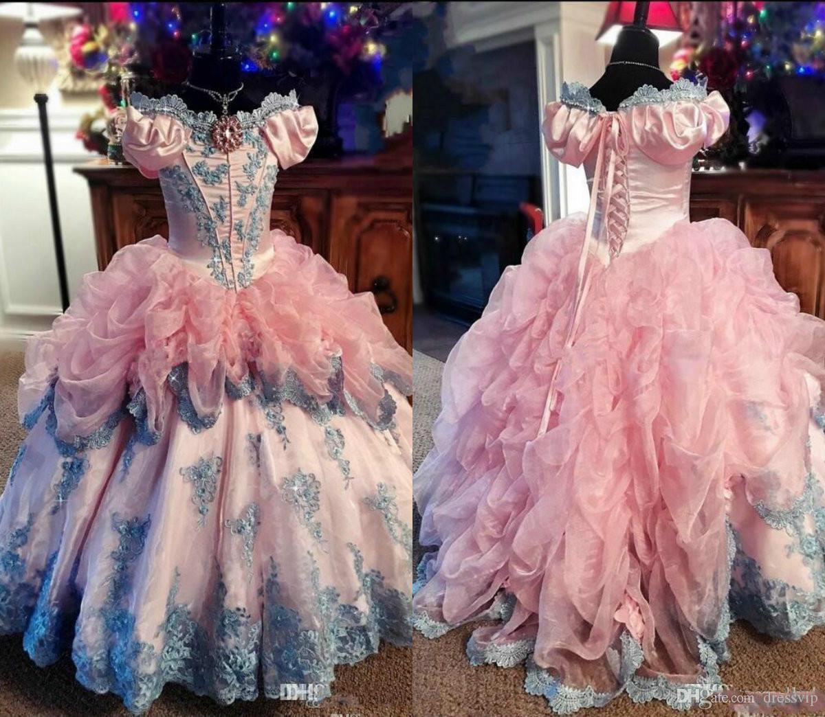 달콤한 오프 - 어깨 목 꽃 파는 소녀 드레스 웨딩에 대한 특별 행사 플로어 길이 여자 미인 대회 드레스 Appliques 첫번째 성찬 드레스