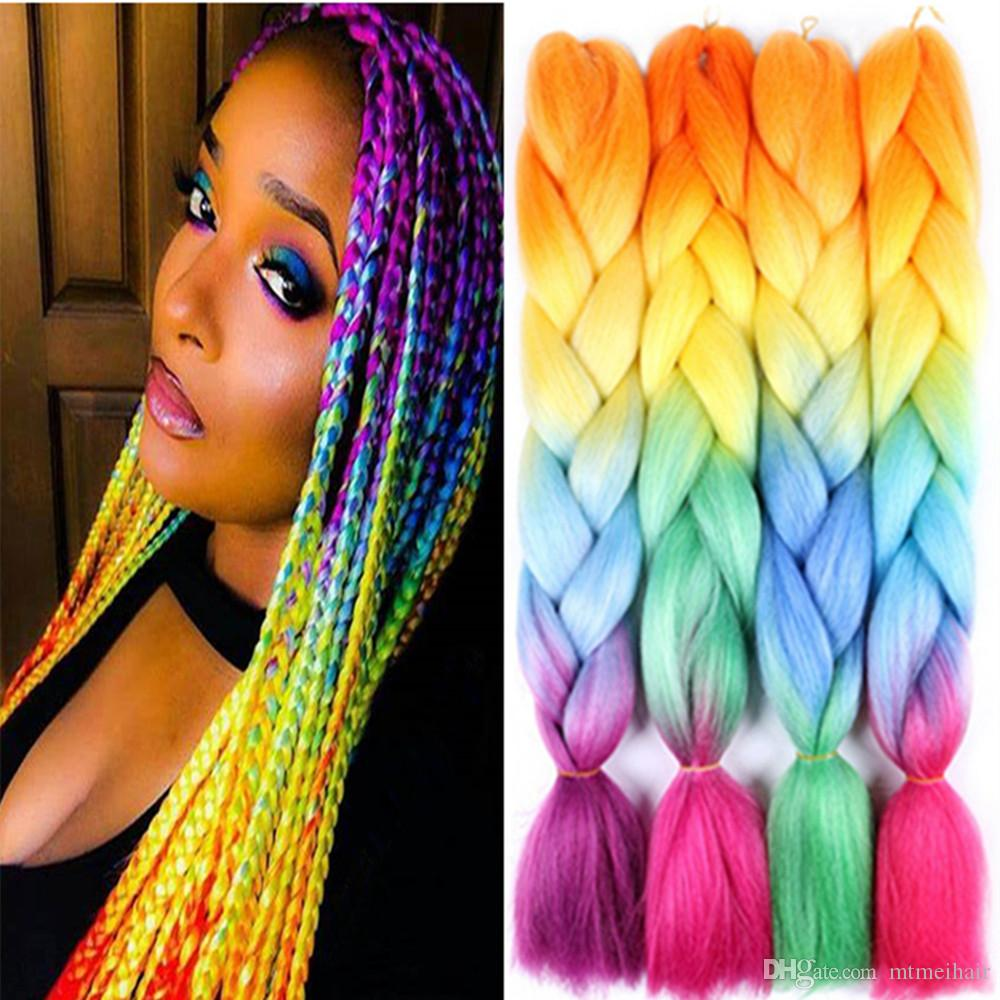 Mtmei Hair 24Inch Synthetic Jumbo Braids hair Ombre Crochet Braiding Hair Extensions African Hairstyle for Women