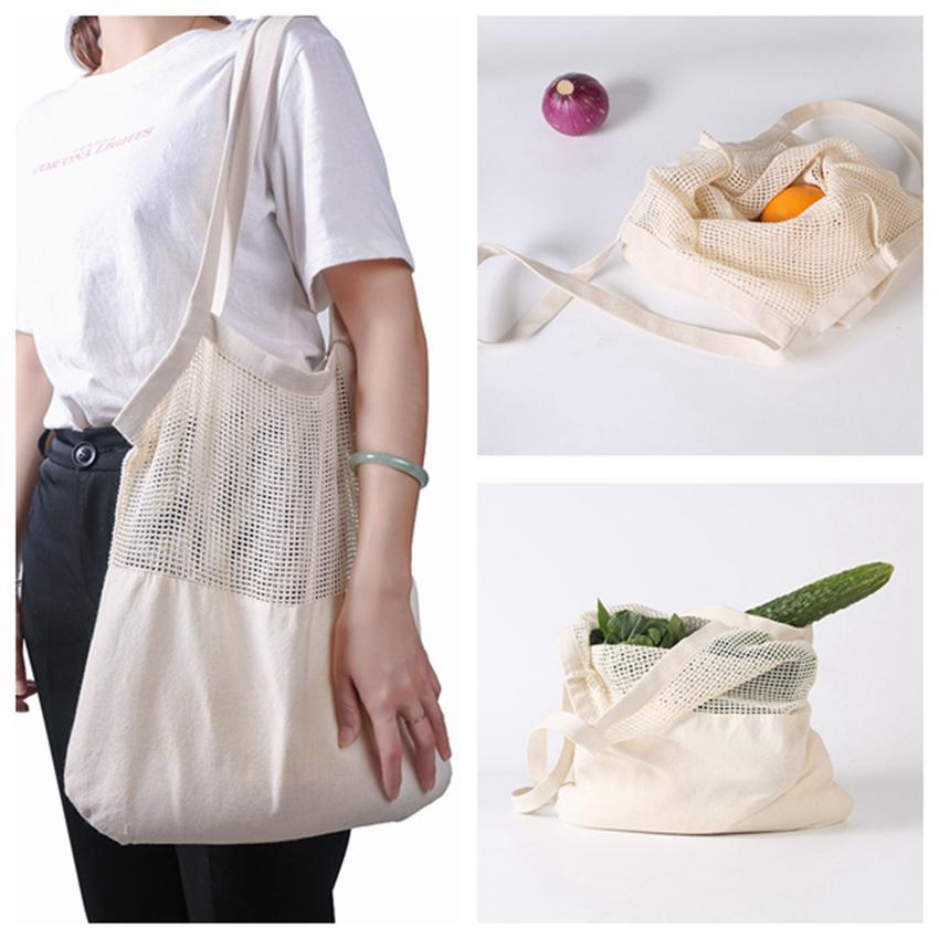 يمكن سلسلة حقيبة تسوق الفاكهة الخضروات ايكو بقالة حقيبة التخزين المحمولة حقيبة المتسوق حمل شبكة صافي أكياس تخزين القطن المنسوجة ZZA1117
