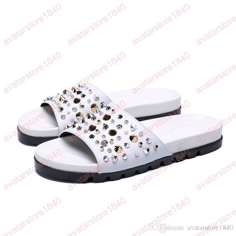 2019 hommes sandales chaussures en cuir véritable sandales chaussures plage gladiateur rivets pantoufles appartements casual chaussures d'été hommes