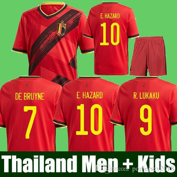 Tailandia 2020 Bélgica Soccer Jerseys de Bruyne Lukaku 19 20 Camisa de Fútbol Peligro Batshuayi Camiseta Futbol Kompany Dembele Maillot