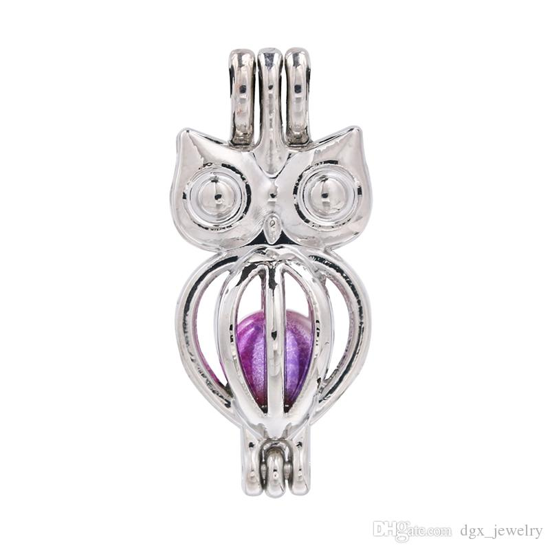 Silver Cute Mini Owl Pearl Cage Jewelry Making Charms Perfume Essential Oil Diffuser Lockets Pendant Aroma Necklace
