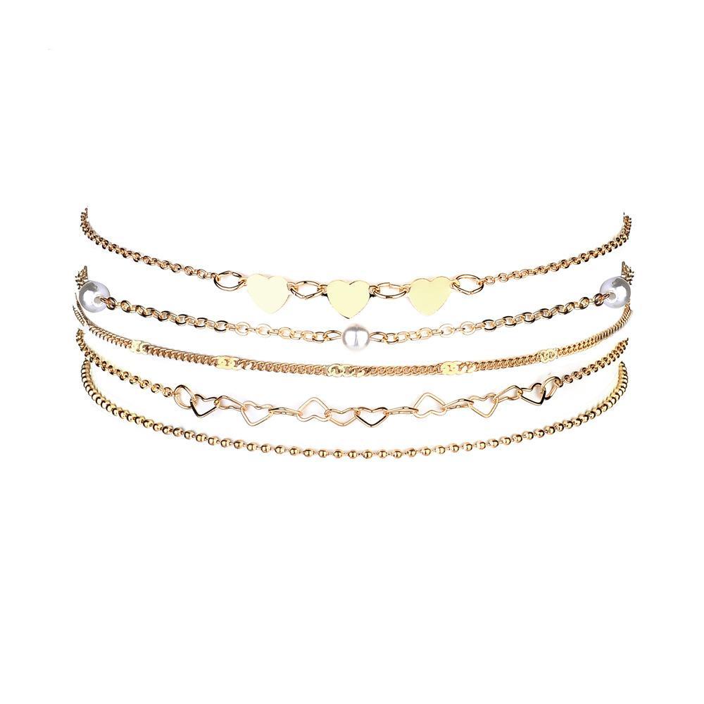5 Unids / set 2019 Collar de Gargantilla de Amor Simple Para Las Mujeres de Oro / Plata Collar Llamativo Collar de Cadena de Joyería de Regalo Bijoux al por mayor