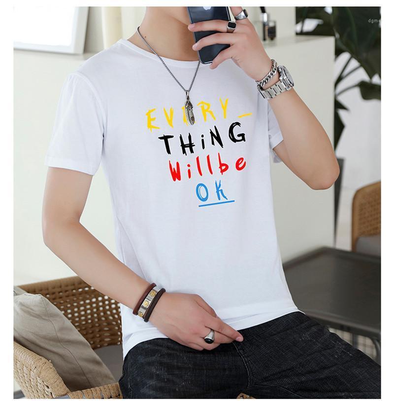 الرقبة بلايز بأكمام قصيرة الرجال صيف كل شيء سيكون على ما يرام رسالة طباعة الملابس مصمم رجالي بلايز الطاقم