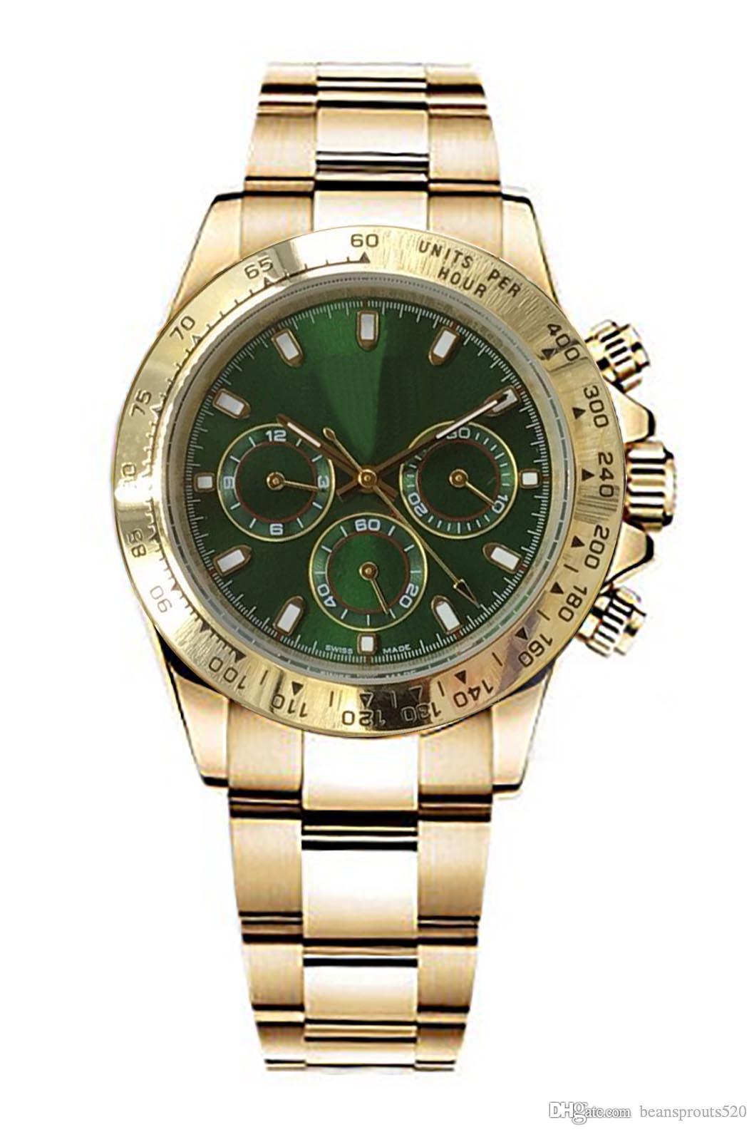 B180 Das Master-Design Designer-Uhren Luxus Uhrwerk Uhren, 116508,116528 Serie Uhr, Gold Edelstahlgehäuse, grün Zifferblatt,