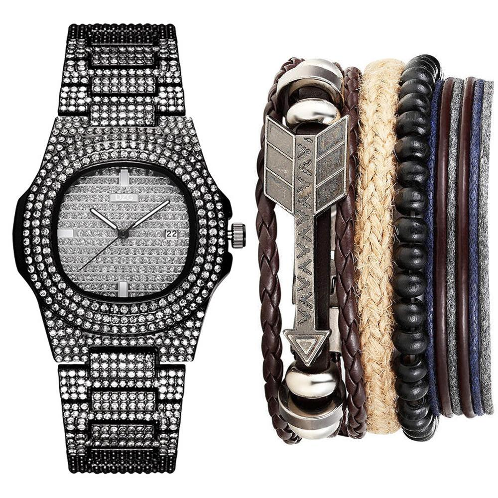 Homem luxuoso trazer calendário de aço trazer relógio de pulso de quartzo + pulseira terno (5pcs / set)