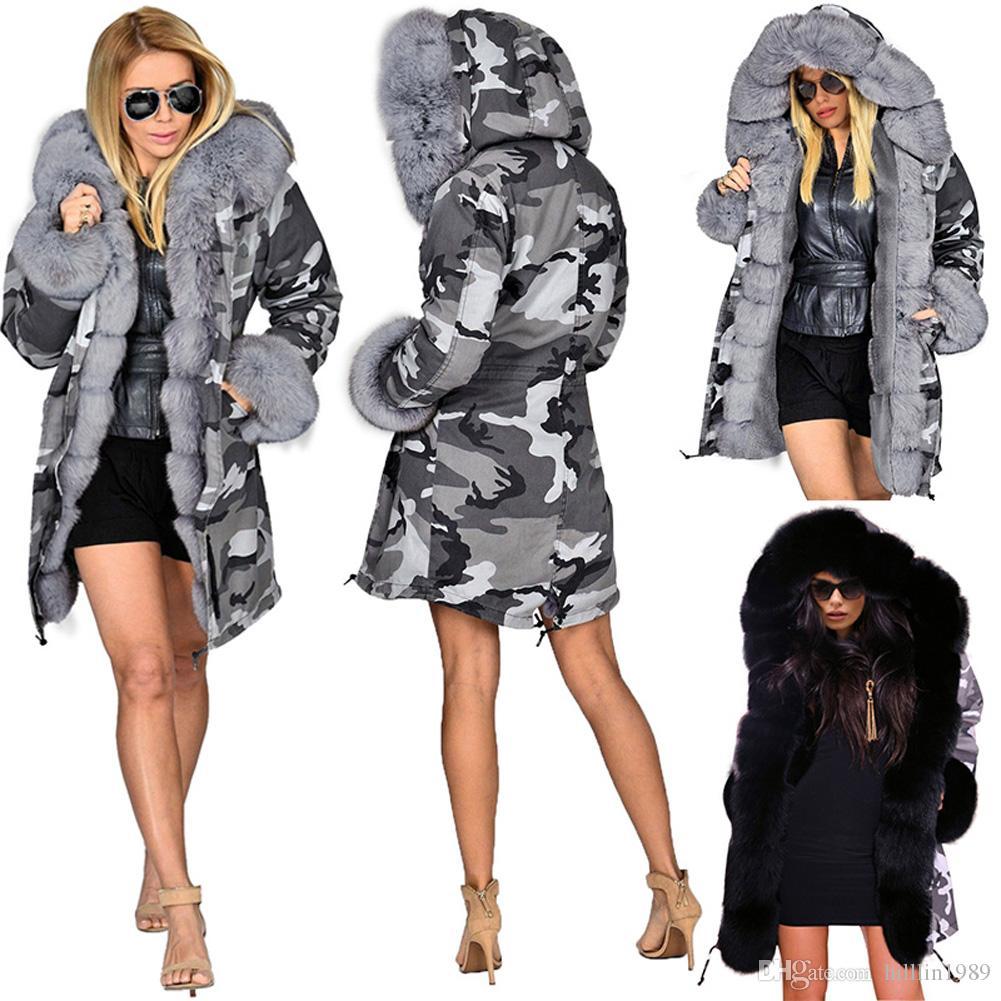 زائد الحجم المرأة الدافئة الفراء التمويه معطف القطن حجم كبير الأزياء سترة واقية قميص طويل فو الفراء طوق مقنع الشتاء سترة