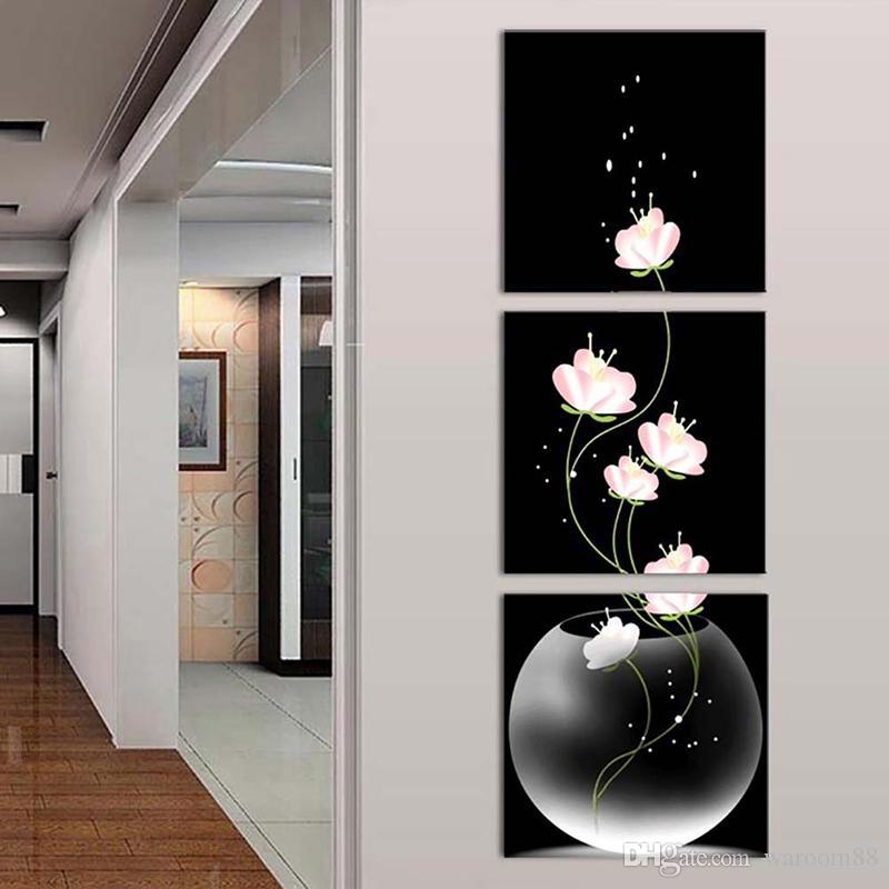 3PCS Unframed 꽃병 꽃 캔버스 소재 포치 복도 Frameless 세로 버전 홈 장식 벽화 현대 미술 그림 장식