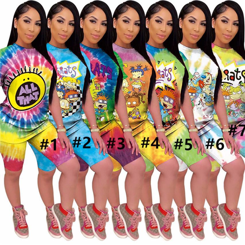 Женщины галстуки краситель 2 частей набор футболки шорты S-2XL наряды летняя повседневная одежда экипаж шеи с коротким рукавом Sportswear Capris Couscsuit DHL 3621