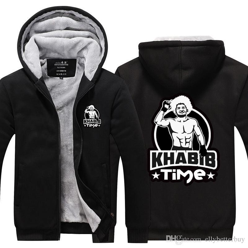 Yeni Erkekler Khabib Nurmagomedov Kartal Kaşmir Hoodie Kış Kalınlaşmak Fermuar Tişörtü Kabanlar Ceket Hırka Coat Uzun Kol eşofman