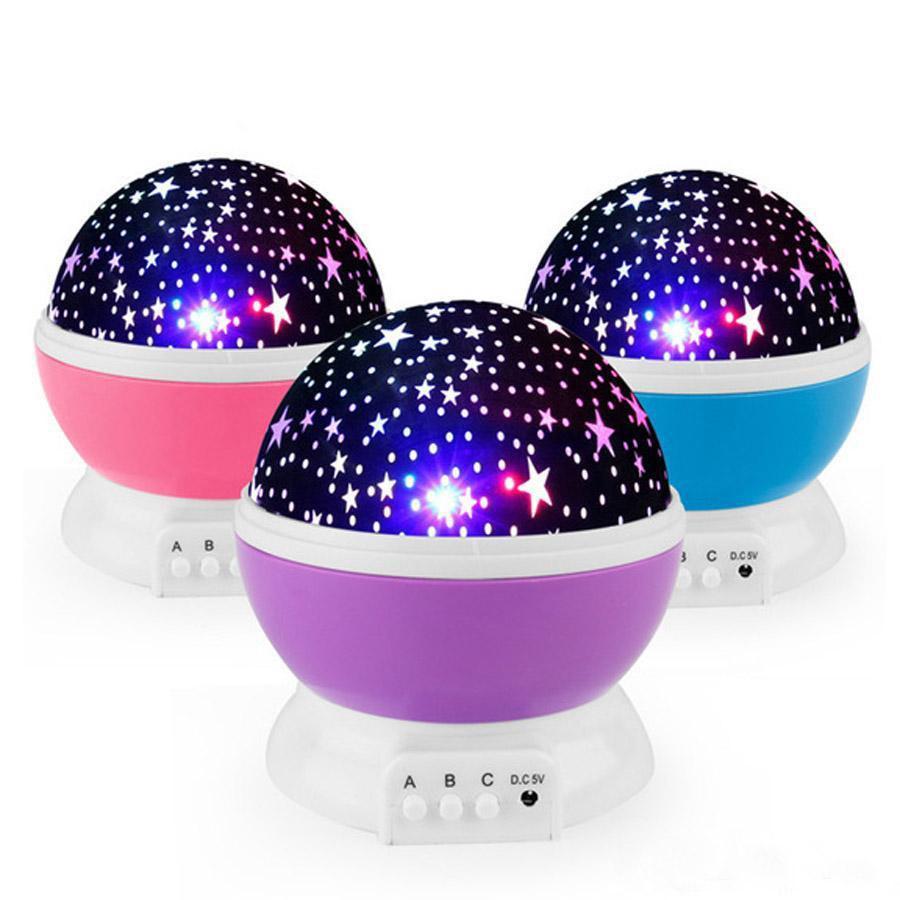 Geschenk-LED Sterne Starry Night Lights Projector Kindergeschenke Mond bunte Lampe Batterie USB-Schlafzimmer-Dekor-Licht-Lampe DH0930
