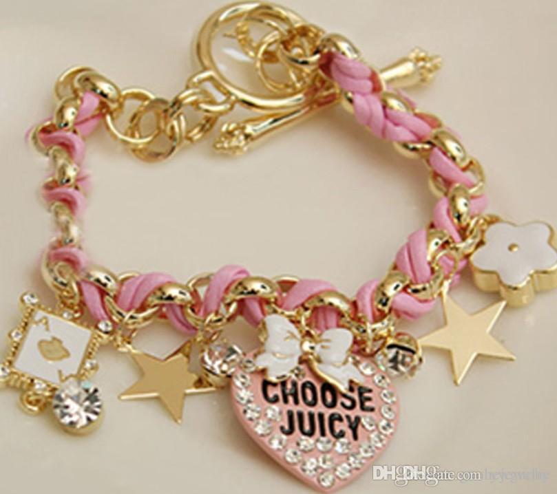 Hot selling women charm bracelets Love heart playing cards bracelets bow rope braided bracelets free shipping