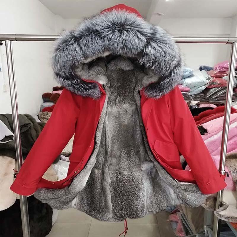 2019 men's Long Parka Waterproof Big Natural fox Fur Collar Hood Thick Warm Real Rabbit Fur Liner Winter Jacket Real Fur Coat T200110