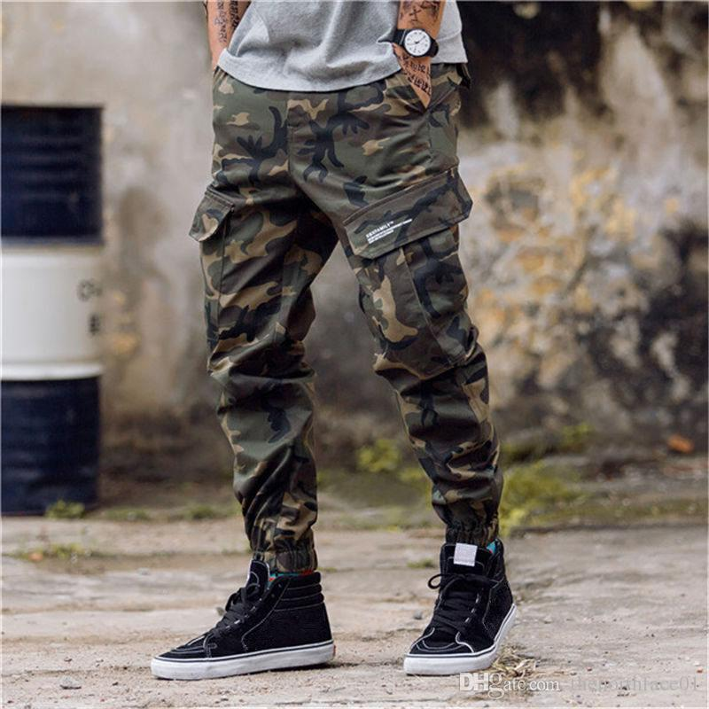 Fashion Mens Camouflage Jogging Pants Zipper Overalls Beam Foot Trousers Irregular Pants Hip Hop Mens Stylist Pants