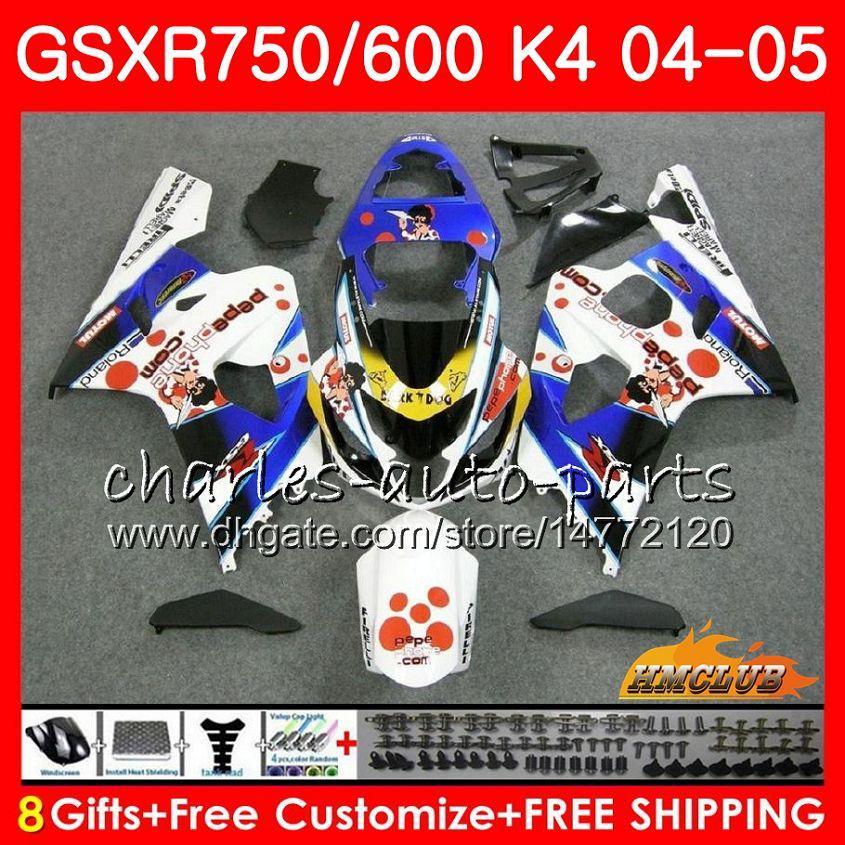 Kit para SUZUKI GSX R600 R750 Pepephone caliente GSXR600 GSXR750 GSXR 600 750 04 05 7HC.73 GSXR750 GSXR750 K4 GSXR600 04 05 2004 2005 carenado
