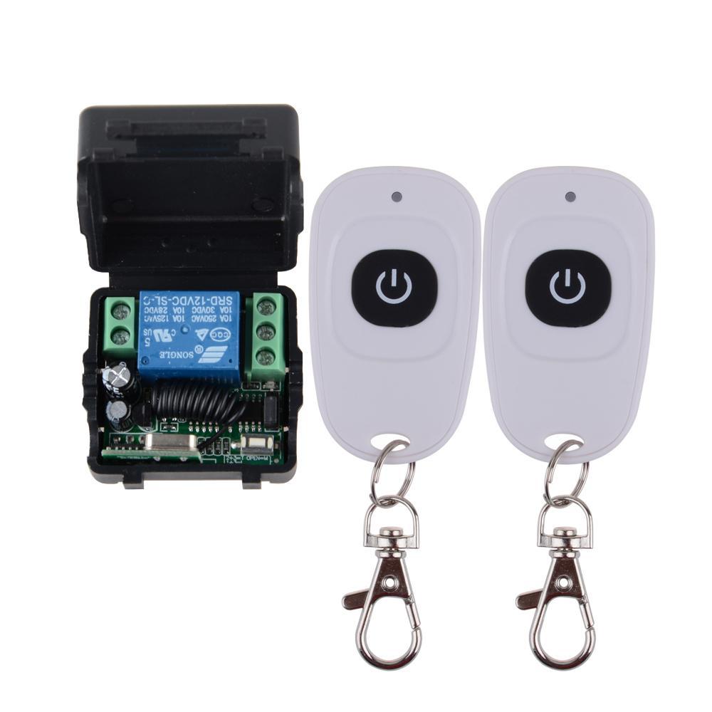 Sender-Empfänger-12V 1CH Rf-drahtloser Fernsteuerungsschalter mit 2 Stück Weiß 1 Button-Controller in 433MHZ Y200407