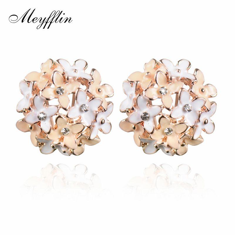 Stud Earrings for Women Female 2019 Boucle d'oreille Crystal Flower Clover Earring Gold Bijoux Jewelry Brincos Mujer