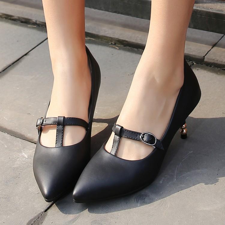 Talla grande 11 12 13 14 15 16 17 zapatos de tacón alto para mujer zapatos de mujer hebilla en forma de T con punta de tacón fina y abertura poco profunda
